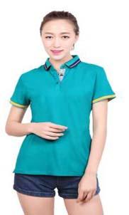 夏季爆款高级翻领T恤衫 双面领T恤 宽彩领条丝光棉T恤