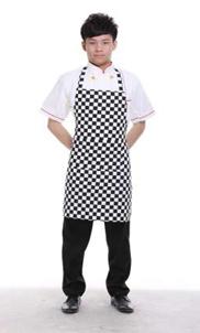 餐厅厨师围裙挂脖黑色长袖酒店工作服定做中西式厨师服 工服批发